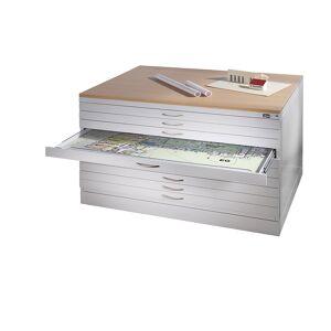 CP Zeichnungsschrank DIN A1, 5 Schubladen, Höhe 420 mm lichtgrau / rubinrot