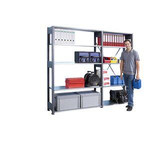 LISTA Basis-Steckregal Regalhöhe 2500 mm, Boden-BxT 1300 x 600 mm Grundregal, grau metallic
