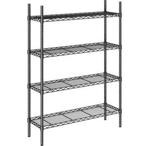 Stahldraht-Gitterregal, schwarz Fachlast 100 kg, BxT 910 x 360 mm Grundregal, Höhe 1370 mm, 4 Fachböden