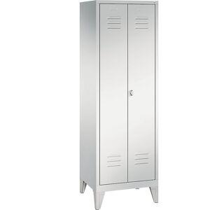 CP CLASSIC Garderobenschrank mit Füßen, zueinander schlagende Türen 2 Abteile, Abteilbreite 300 mm lichtgrau
