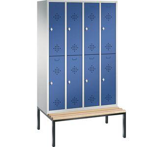 CP CLASSIC Garderobenschrank mit untergebauter Sitzbank, doppelstöckig 4 Abteile, je 2 Fächer, Abteilbreite 300 mm lichtgrau / enzianblau