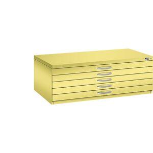 CP Zeichnungsschrank DIN A1, 5 Schubladen, Höhe 420 mm schwefelgelb