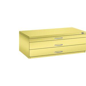 CP Zeichnungsschrank DIN A1, 3 Schubladen, Höhe 420 mm schwefelgelb