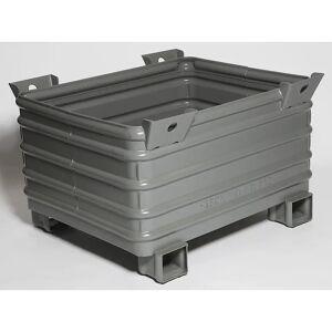 Heson Schwerlast-Stapelbehälter BxL 800 x 1000 mm, mit U-förmigen Füßen grau lackiert, ab 10 Stk