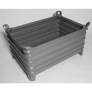 Heson Schwerlast-Stapelbehälter BxL 800 x 1200 mm, mit Ecktaschen grau lackiert, ab 10 Stk