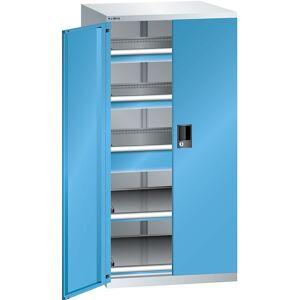 LISTA Schubladenschrank mit Flügeltüren Höhe 1450 mm, 2 Böden, 3 Schubladen, Traglast 200 kg lichtgrau / lichtblau
