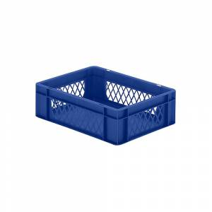 Euro-Format-Stapelbehälter, Wände durchbrochen, Boden geschlossen LxBxH 400 x 300 x 120 mm blau, VE 5 Stk