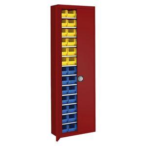 mauser Magazinschrank HxBxT 2150 x 680 x 280 mm, mit Sichtlagerkästen, einfarbig rot, 52 Kästen