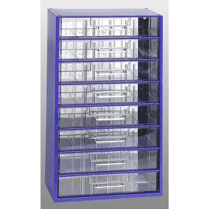 Schubladenmagazin, HxBxT 551 x 306 x 155 mm 8 Schubladen Polystyrol ultramarinblau