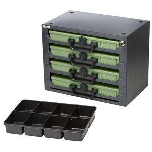 QUIPO Stapelturm mit 4 Sortimentskoffern Einleger mit 8fach-Einteilung Koffer grün