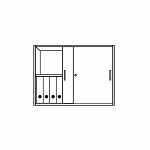 TINO - Aufsatzschrank 2 Ordnerhöhen, Schiebetür lichtgrau