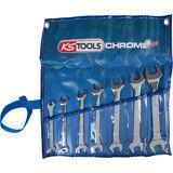 KS Tools CHROMEplus Doppel-Maulschlüssel-Satz 15° Gabelstellung 7 Teile