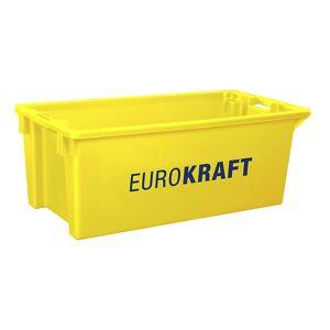 EUROKRAFT Drehstapelbehälter aus lebensmittelechtem Polypropylen Inhalt 70 Liter, VE 2 Stk Wände und Boden geschlossen, gelb
