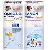 Doppelherz® system Omega-3 flüssig family + system Immun Multivitamine family