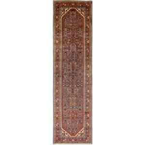 Nain Trading Handgeknüpfter Teppich Hosseinabad 417x110 Läufer Braun/Lila (Wolle, Persien/Iran)