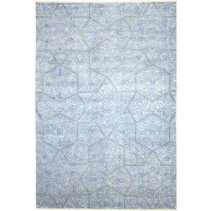 Nain Trading Handgeknüpfter Teppich Mahra 288x199 Grau/Hellblau (Wolle mit Seide, Pakistan)