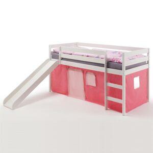 IDIMEX Spielbett BENNY weiß, mit Vorhang rosa