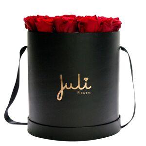 Juli Flowers Rosenbox von Juli Flowers Infinity Rosen in Größe: dunkelrot Medium schwarz rund Logo Rose Gold - mindestens 1 bis 3 Jahre haltbare Rosen