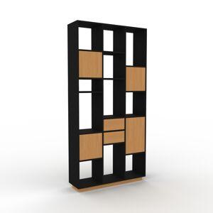 MYCS Bücherregal Eiche - Modernes Regal für Bücher: Schubladen in Eiche & Türen in Eiche - 118 x 239 x 35 cm, konfigurierbar