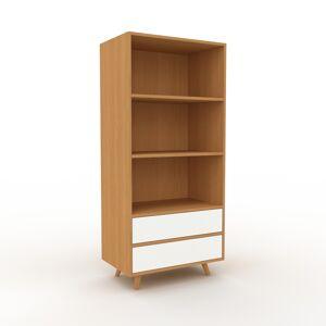MYCS Aktenregal Eiche - Flexibles Büroregal: Schubladen in Weiß - Hochwertige Materialien - 77 x 168 x 47 cm, konfigurierbar