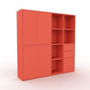 MYCS Schrankwand Rot - Moderne Wohnwand: Schubladen in Rot & Türen in Rot - Hochwertige Materialien - 154 x 157 x 35 cm, Konfigurator
