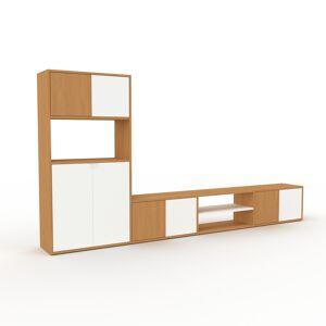MYCS TV-Schrank Eiche - Moderner Fernsehschrank: Türen in Weiß - 301 x 157 x 35 cm, konfigurierbar