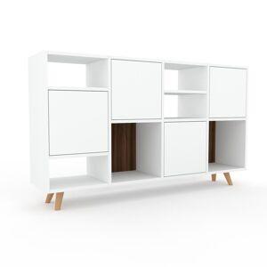 MYCS Sideboard Weiß - Designer-Sideboard: Türen in Weiß - Hochwertige Materialien - 156 x 91 x 35 cm, Individuell konfigurierbar