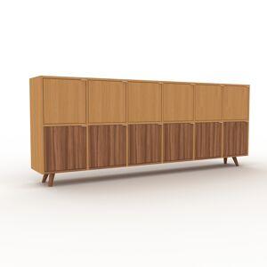 MYCS Sideboard Eiche - Designer-Sideboard: Türen in Nussbaum - Hochwertige Materialien - 233 x 91 x 35 cm, Individuell konfigurierbar