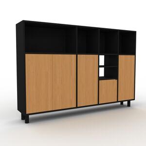MYCS Sideboard Schwarz - Designer-Sideboard: Türen in Eiche - Hochwertige Materialien - 193 x 130 x 35 cm, Individuell konfigurierbar