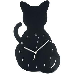 Acryl - Wanduhr Katze Wanduhr-schwarz Onesize       Unisex