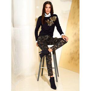AMY VERMONT Pullover, Damen, schwarz, mit Pailetten und Perlen