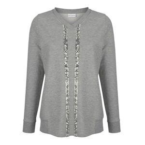 AMY VERMONT Sweatshirt, Damen, grau, mit Paillettenstreifen im Vorderteil