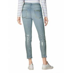 AMY VERMONT Jeans, Damen, blau, mit Foliendruck und Destroyed-Effekt