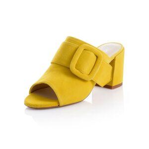 Alba Moda Pantolette, Damen, gelb, mit Zierriemchen