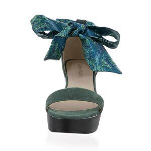 Alba Moda Sandalette, Damen, grün, aus Ziegenveloursleder