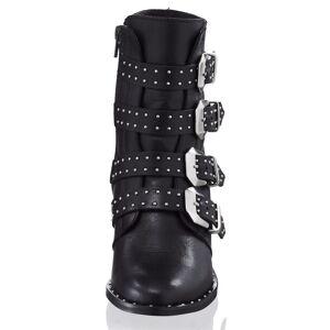 Alba Moda Stiefelette, Damen, schwarz, trendstark mit vier schmückenden Schnallen