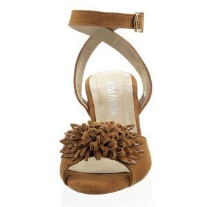 Alba Moda Sandalette, Damen, braun, aus weichem Ziegenveloursleder