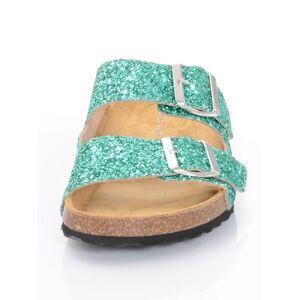 Alba Moda Pantolette, Damen, grün, im Glitter-Look