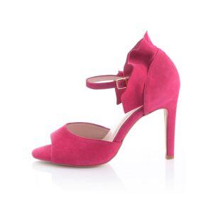 Alba Moda Sandalette, Damen, rosé, mit Volants-Detail