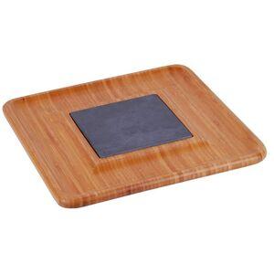 NATURA-PUNTO Bambus Käse-Tablett mit Schieferplatte, 2-teilig, 33 x 33 x1,5cm