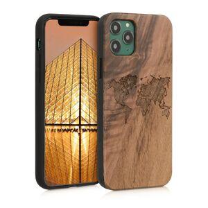 Schutzhülle für iPhone 11 Pro, Walnussholz, Travel-Umriss, Dunkelbraun