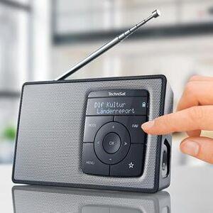 TechniSat tragbares Digitradio 2, DAB+, Bluetooth, Digitalradio und Radiowecker, schwarz/silber