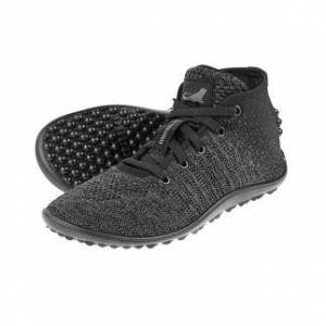 Leguano Barfussschuh Go, Knit-Sneaker, grau/schwarz, Gr. 41