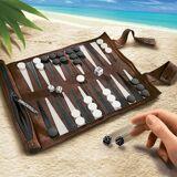 Sondergut Rollbackgammon aus Veloursleder, dunkelbraun