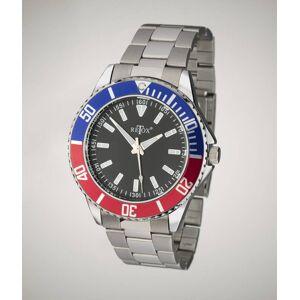 Retox Herren-Armbanduhr, Retox-Master mit 2 farbiger Lünette und Edelstahlband, 3 bar wasserdicht