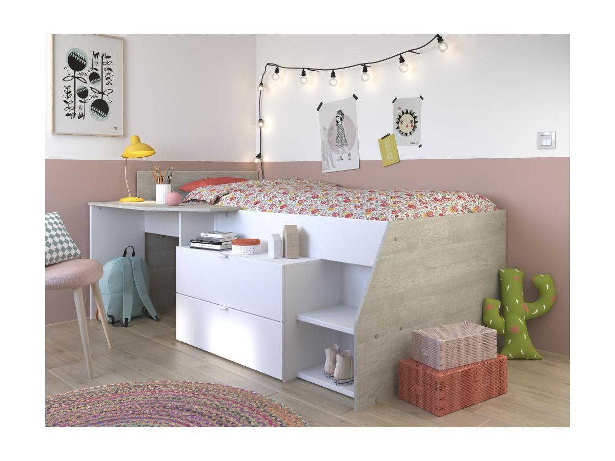 Vente-unique.com PARISOT Kinderbett mit Schreibtisch & Stauraum GISELE - 90x200cm