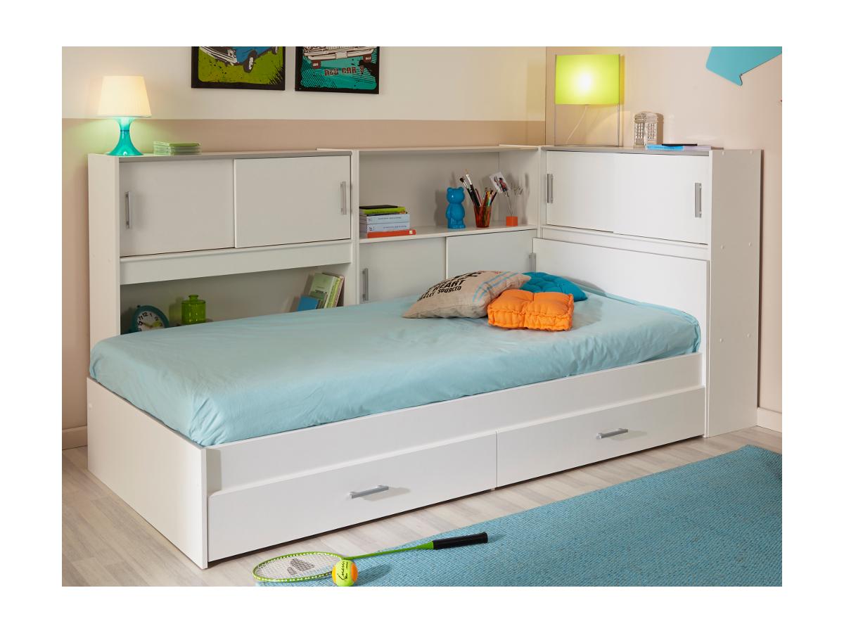 Vente-unique.com PARISOT Kinderbett mit Regal SNOOP