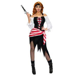 Vegaoo Piratin-Kostüm für Erwachsene schwarz-weiss-rot - S (38/40)