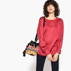 LA REDOUTE COLLECTIONS Unifarbene Bluse, runder Ausschnitt, lange Ärmel