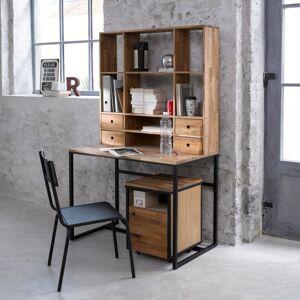 LA REDOUTE INTERIEURS Schreibtisch mit Aufsatz Hiba, Eiche und Metall